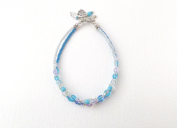 Clasp Bracelet, Turquoise and Silver Toggle Clasp Double Strand