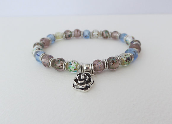 Tibetan Silver Flower, Stretch Bracelet, Grey Blue Mauve Elastic Bracelet