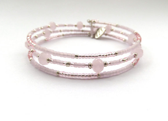 Pink Opal Crystal Bracelet, Frosted Memory Bangle