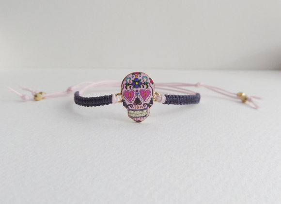 Day of the Dead Sugar Skull Bracelet, Navy Macrame, Pink Cord Bracelet, Gold