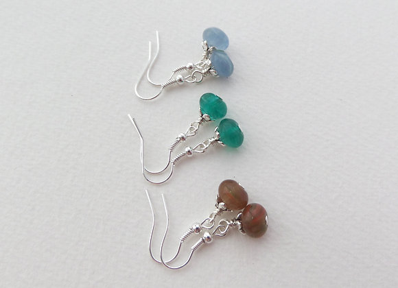 Smooth Glass Earrings, Dangle Silver Hook Earrings