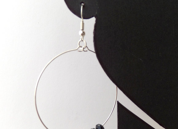Crystal Silver Hoop Earrings, Large Dangle Hoop Hook Earrings