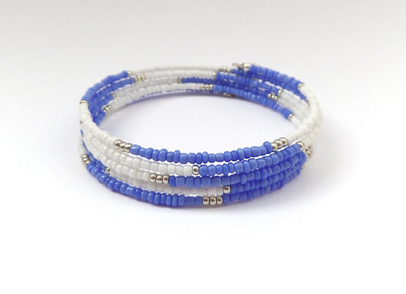 Opaque Blue and White Silver Memory Bangle