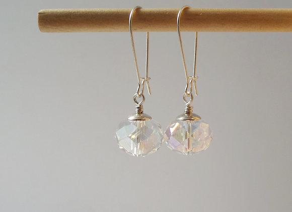 Crystal earrings, Clear Bling, Bold Dangle Silver Earrings