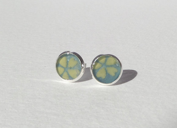 Turquoise Silver Studs, Small Round Stud Earrings, 8mm earrings