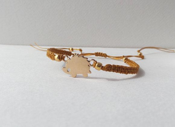 Gold Hedgehog Bracelet, Antique Gold Cord Bracelet