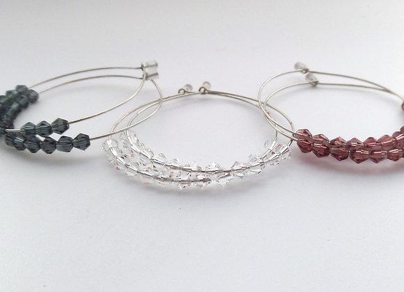 Silver Hoop Earrings, Clear Crystal
