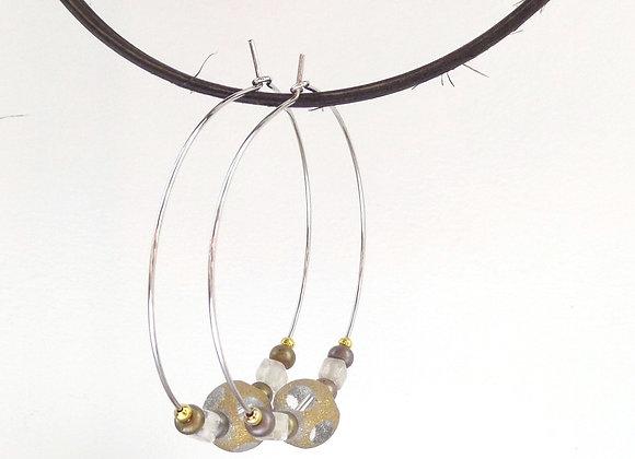 Neutral Beaded Hoop Silver Earrings.