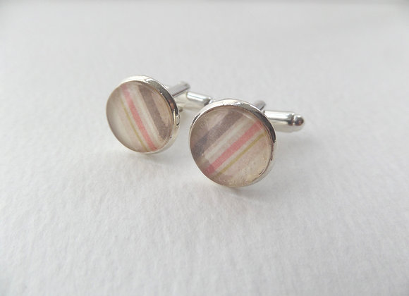 Silver Cuff Links, Vintage looking cuff links, choice of checks or stripes