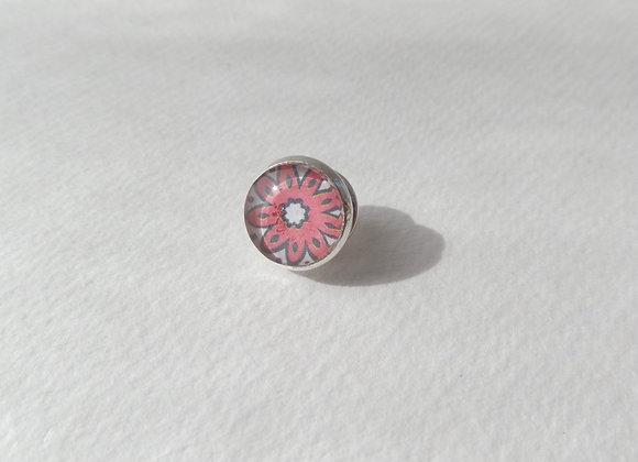 Red Flower Silver Lapel Pin,  Tie Pin, Mini Brooch Pin