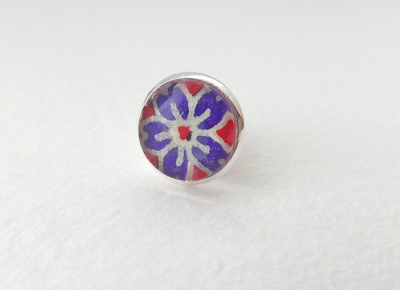 Blue Flower Tie Tack, Clutch back Brooch Pin, Badge