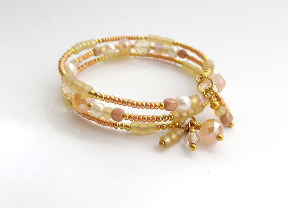 Peach And Gold Bangle/bracelet Set