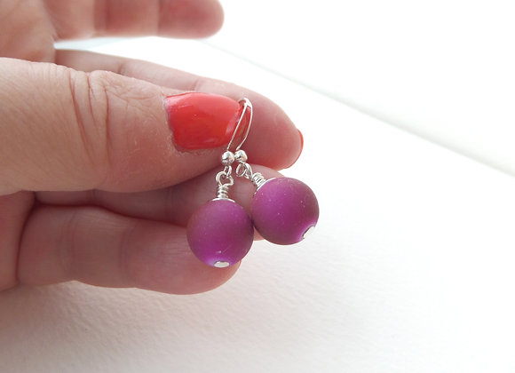 Funky Rubber bead Silver Earrings, Puce, Deep cerise pink Dangle Silver Earrings