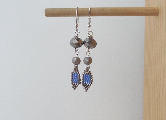 Grey Crystal and Beadwoven Dangle Silver Earrings