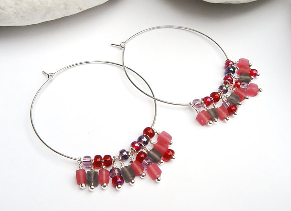 Fringe Hoop Earrings, Red and Pink Silver Earrings