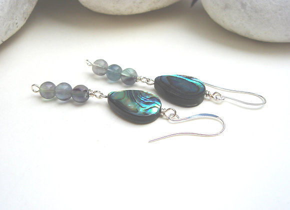 Abalone Shell and Fluorite Silver Earrings.