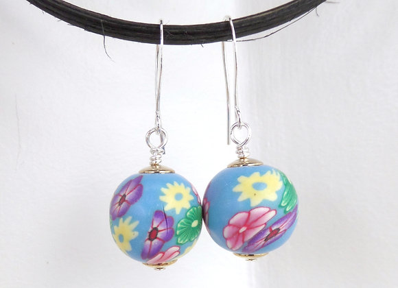 Big Floral Polymer Clay Earrings, Turquoise Drop Dangle Silver Earrings
