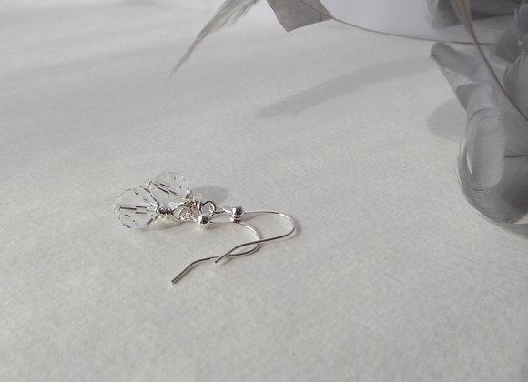 Clear Crystal Silver Earrings, Silver Hook Fittings, Dangle drops