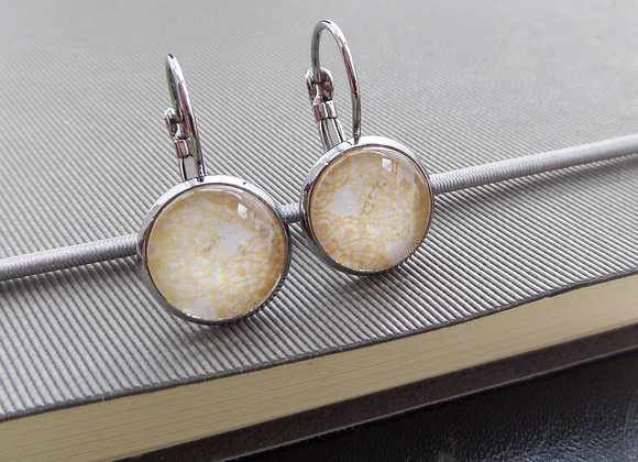 Pale Yellow Lace Earrings, Gunmetal Dangle Earrings