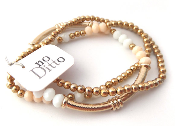 Champagne Gold Stretch Bracelet Set, White and Nude Crystal Elastic Bracelet
