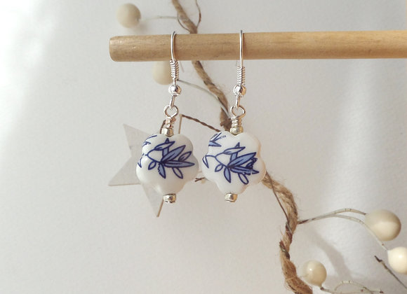 White Ceramic Flower Earrings, China Blue Silver Earrings
