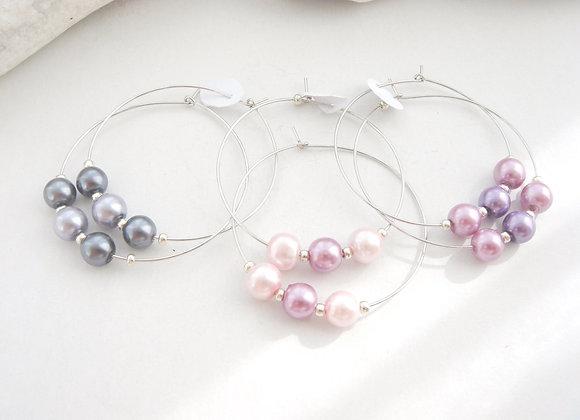Silver Hoop Earrings, Pearl Hoop Earrings