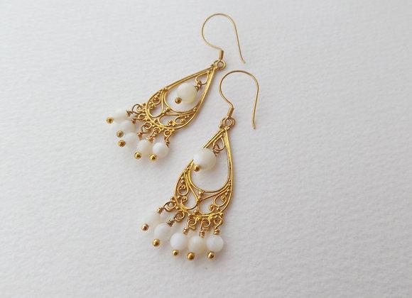 Mother Of Pearl Gold Earrings, Gold Vermeil Chandelier Dangle Earrings