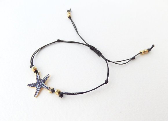 Starfish Bracelet, Gold, White and Blue, Black Cord Bracelet, Enamelled Gold