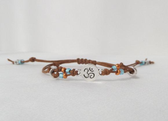 Silver Yoga Bracelet, Brown Cotton casual Bracelet, Om Symbol Cord Bracelet,
