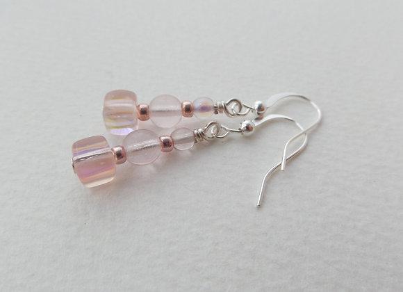 Blush Pink Silver Earrings, Hook Drops