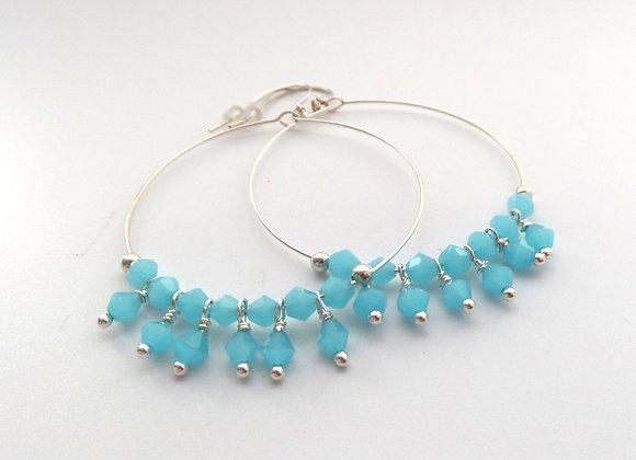 Crystal Silver Hoop Earrings, Large Dangle Hoop Hook Earrings