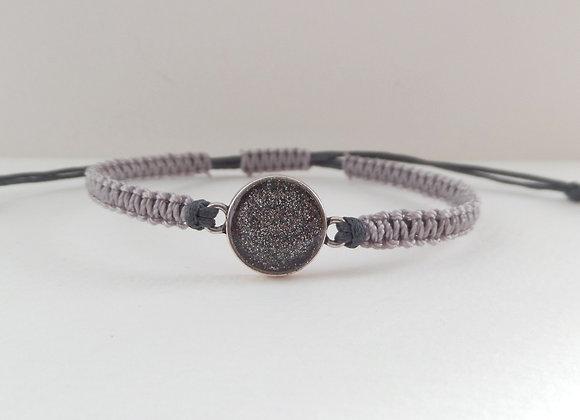 Shimmer Grey Macrame Bracelet, Grey Cotton Cord Bracelet,