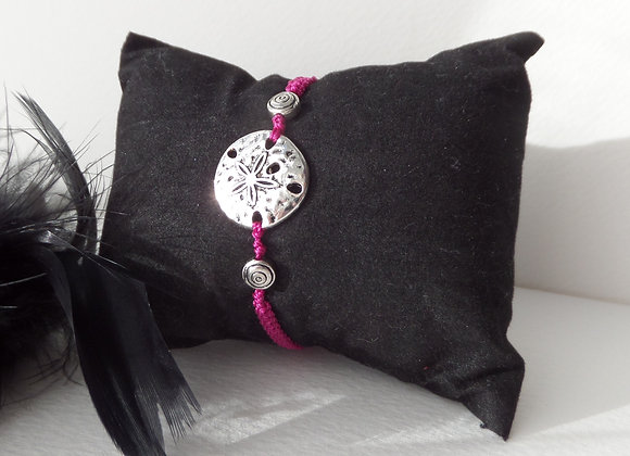 Silver Sand Dollar Bracelet, Pink Macrame, Delicate Cord Bracelet