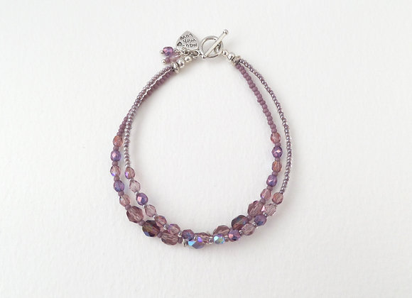 Mauve Clasp Bracelet, Purple and Silver Toggle Clasp Double Strand