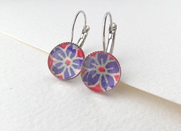 Indigo Flowers Silver Earrings, Hinged Dangle Earrings