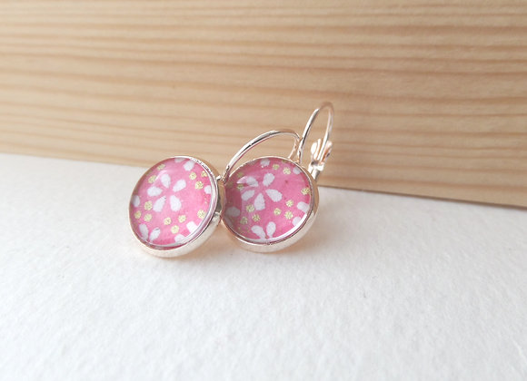 Japanese Blossoms, Pink, White and Rose Gold Earrings, hinged dangle earrings