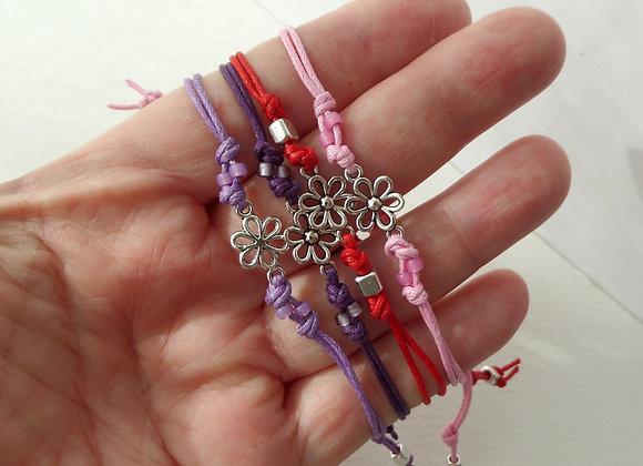Tibetan Silver Flower Bracelet, Beaded Cord Bracelet