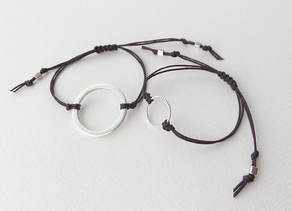 His And Hers Silver Open Circle Bracelets, Cotton Cord Bracelet