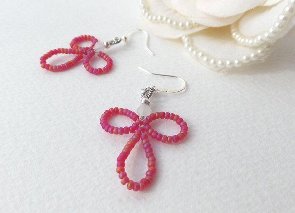 Red Flower Earrings, Silver Hook Fittings, dangle drops