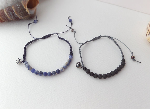 Gemstone Beaded Bracelet, Macrame Cord