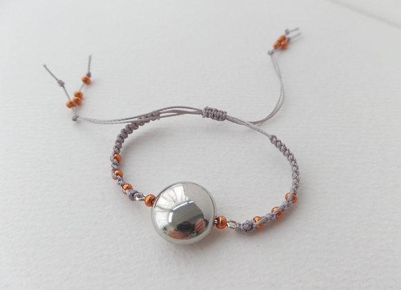 Beaded Bracelet, Macramé Bracelet, Silver cord and Copper Bracelet,