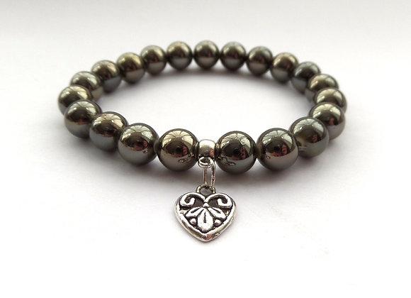Gunmetal Grey Stretch Bracelet, Antique Silver Heart, Elastic Bracelet