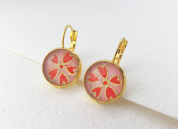 Japanese Blossoms, Orange Red and Gold Earrings, hinged dangle earrings