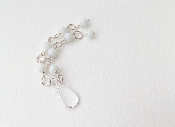 Long White Earrings, Stone and Silver Dangle Earrings
