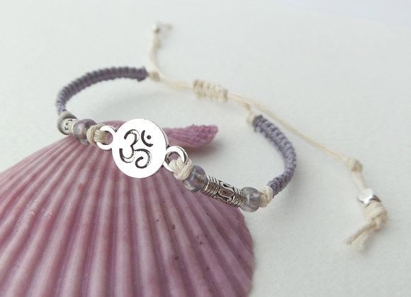 Silver Yoga Bracelet, Ecru Casual Bracelet, Om Symbol.