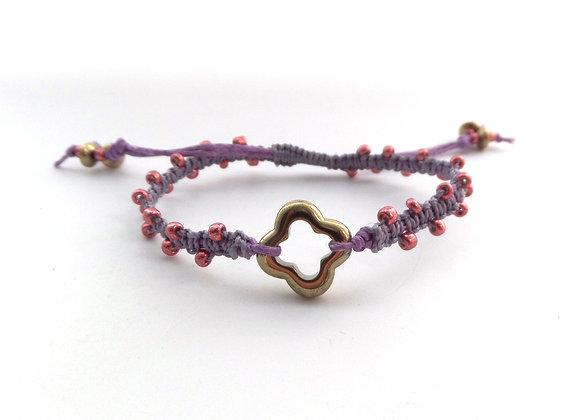Pink Beaded Bracelet, Purple Cord Bracelet, Gold Quatrefoil