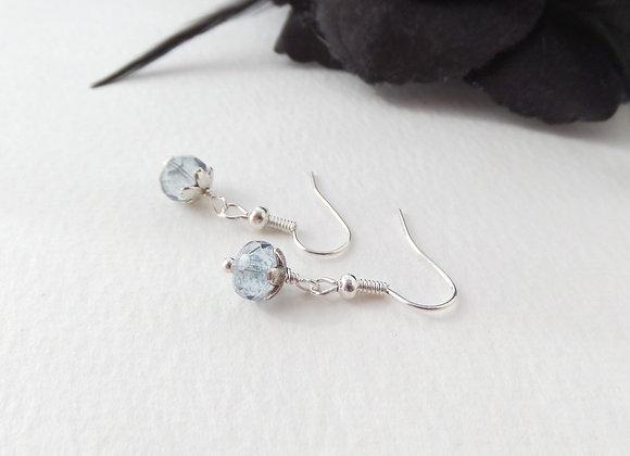 Blue Sea Glass Earrings, Dangle Silver Earrings Blue