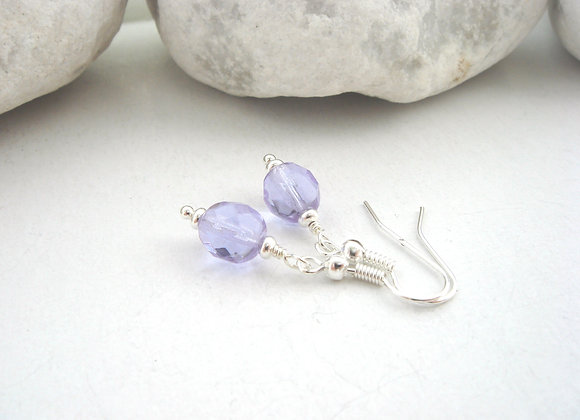 Lilac Silver Earrings, Silver Hook Fittings, dangle drops