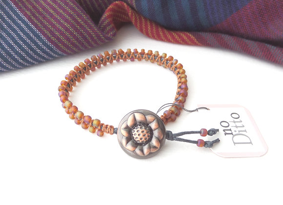 Burnt Orange Bracelet, Copper and Grey Macramé Bracelet
