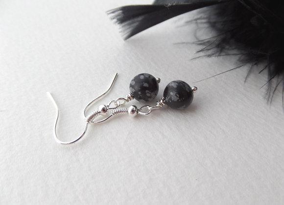 Snowflake Obsidian, Black Earrings, Drop Dangle Silver Earrings
